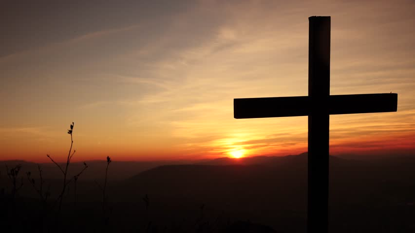 symbol background of believing in god. cross silhouette scenery at sunset #8021242
