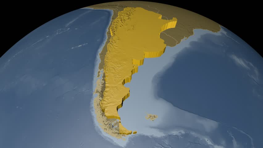 ARGENTINA Extruded On The World Map With Graticule Rivers And - Argentina globe map