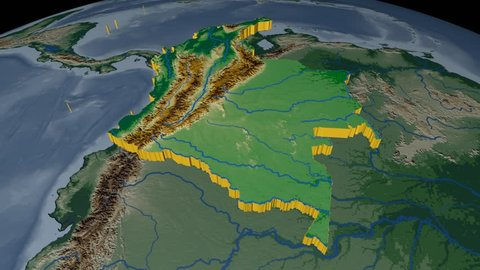 COLOMBIA extruded on the world map. Rivers and lakes shapes added. Colored elevation and bathymetry data used. Elements of this image furnished by NASA.