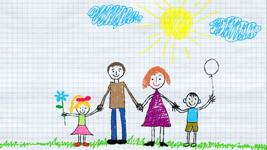 child draws family and home using color pencils animated drawing on the exercise book sheet - Child Drawing Book