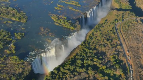 victoria falls aerial view from helicopter uhd 4k