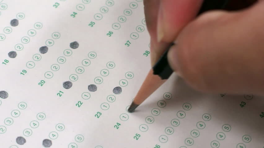 filling in answer sheet for test