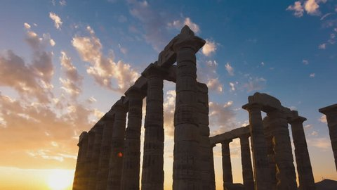 Post dolly tracking timelapse of the Ancient temple of Poseidon monument in Cape Sounio of Athens,Greece. Unwanted elements,artifacts, were digitally removed, sequence has been deflickered.