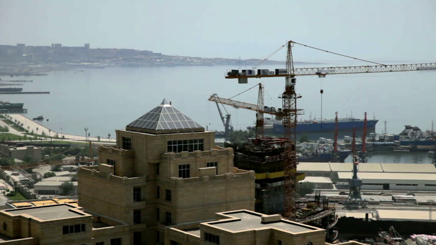 Construction Site Of City Baku Azerbajdan With New Hotels And