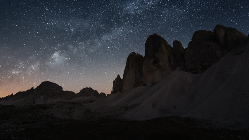 4K UHD From sunset to milky way - a holy grail time lapse at tre cime de lavaredo. 11583