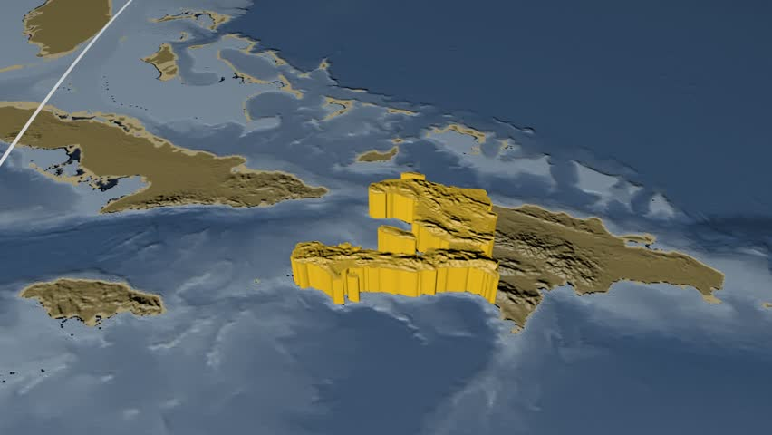 Haiti Extruded On The World Map With Administrative Borders And