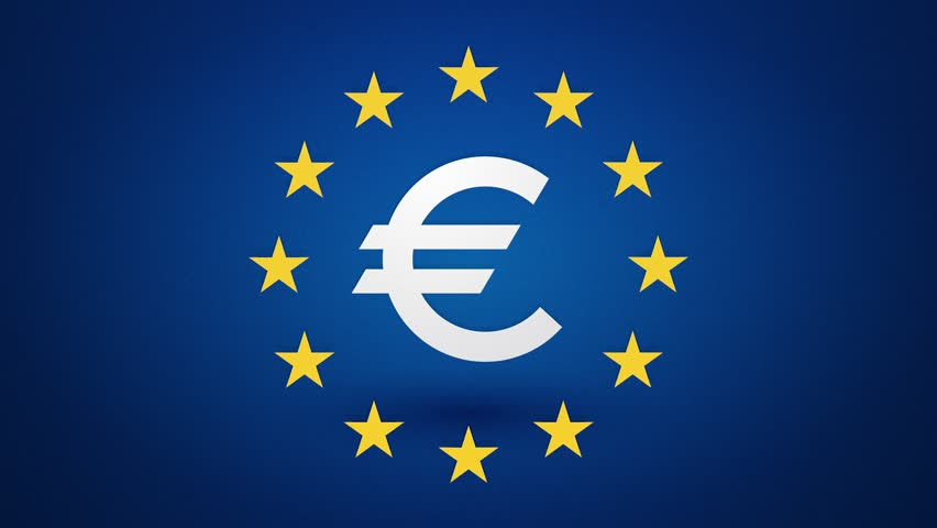 Euro Currency Symbol With Rotating Yellow Stars Endless Loop Stock