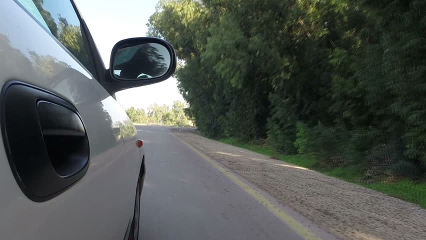 Front Fork View Bike Running On A Wet Road Stock Footage Video