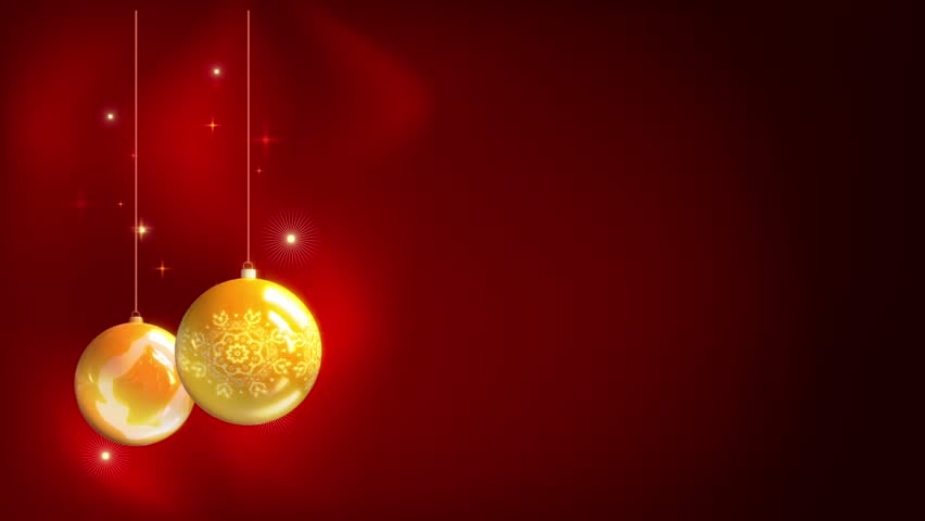 Christmas And New Year Yellow Balls With Abstract Red Background ...