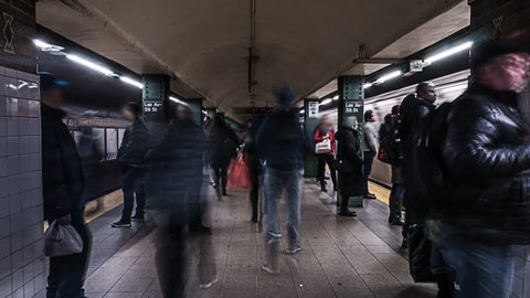 4k Crowds of people getting onto subway timelapse in New York City, 4k Stock video footage Clip