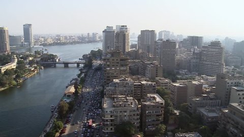 General view of Cairo and Nile, pan left. Cairo is the capital of Egypt and the largest city in the Middle-East and second-largest in Africa after Lagos.