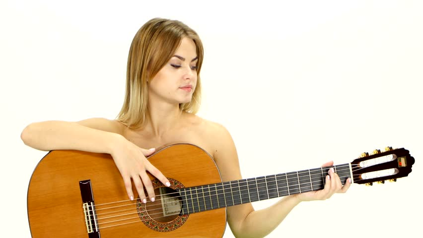 Young Beautiful Caucasian Woman In Casual Playing Guitar Stock Footage Video 8162416 -9007