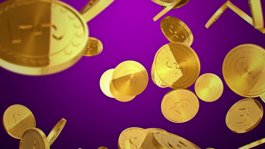 Gold coins falling and rotate on purple background. Beautiful Looped animation. 4K.