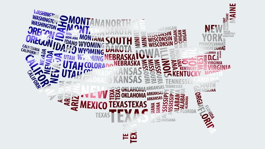 Word Cloud Of The United States Map With Alpha Channel In K - 4k us map