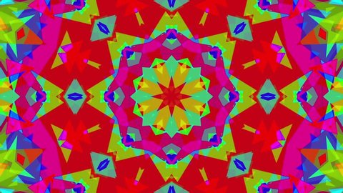 Fast Psychedelic Colorful Kaleidoscope VJ background loop 4