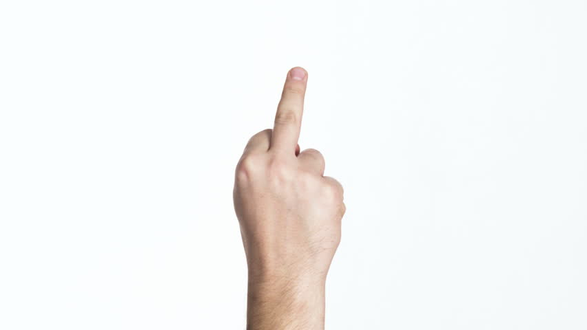 Closeup man's palm showing middle finger isolated