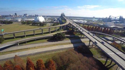 Highway interchange in Louisiana at Port Allen aerial 4k video