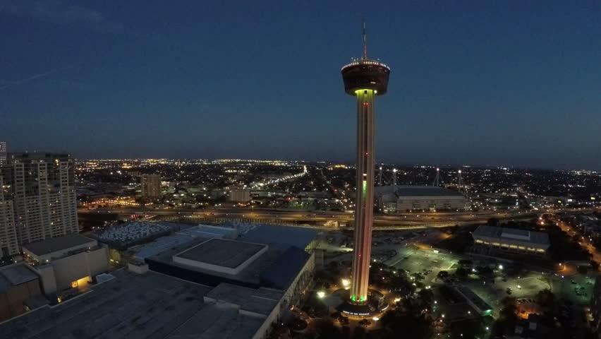 Downtown san Antonio at night aerial 4k video drone shot
