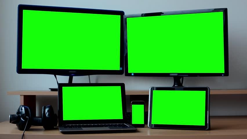 Virtual Studio Set Stage With 2 Flat Panel Hd Tvs