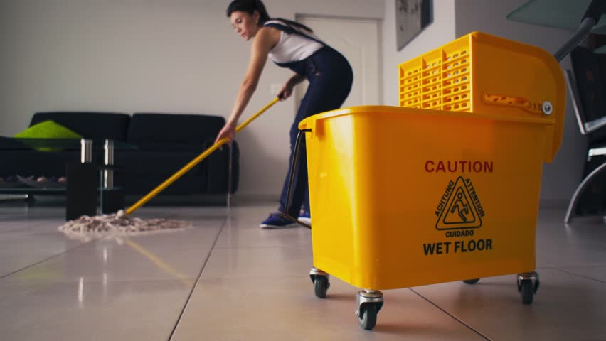 Young Woman Wiping Floor With Mop And Bucket At Home