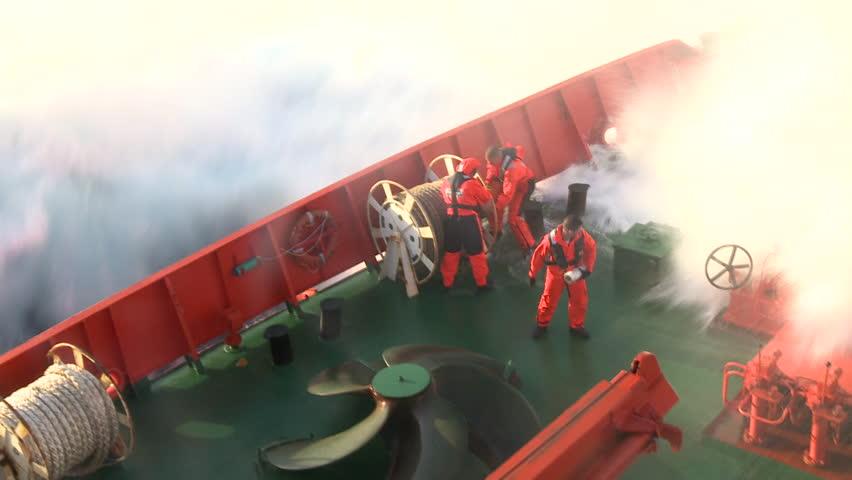 B.I.O. Hespérides (A-33), Atlantic Ocean-Circa January 2011: preparing ship for a storm. Breaking wave