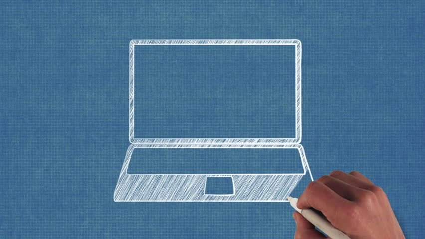 Stock video clip of price tag blueprint stop motion style animation hd0010hand drawing a laptop computer on blueprint paper malvernweather Gallery