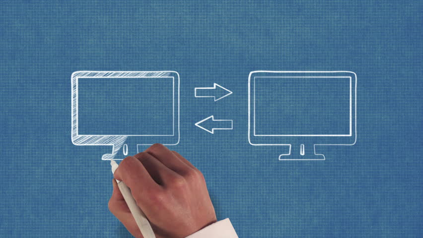 Data transfer whiteboard stop motion style animation stock footage hand drawing a computer data transfer on blueprint paper hd stock footage clip malvernweather Choice Image