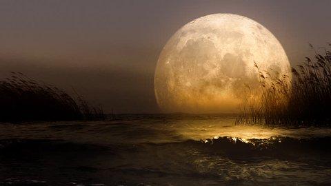 Huge fantastic moon reflecting in the lake. Version 3.