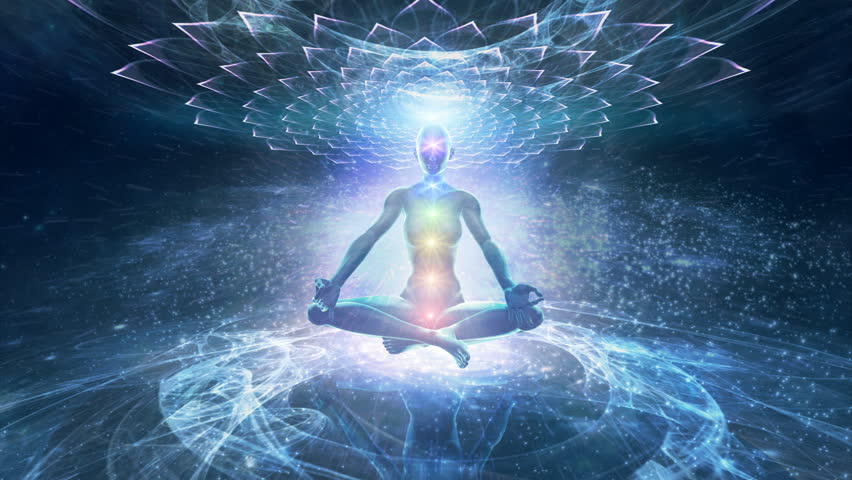 Meditation leading to the enlightenment and nirvana. Chakras opening.