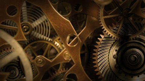 Inside a clock, infinite zoom into the clockwork mechanism. A 3d animation.
