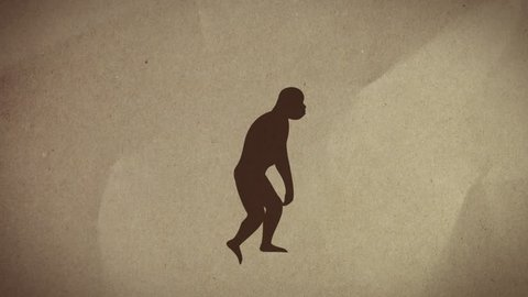 Evolution. Graphic animation of the evolution from monkey to man against textured paper. This includes an alpha or matte clip of the animation.