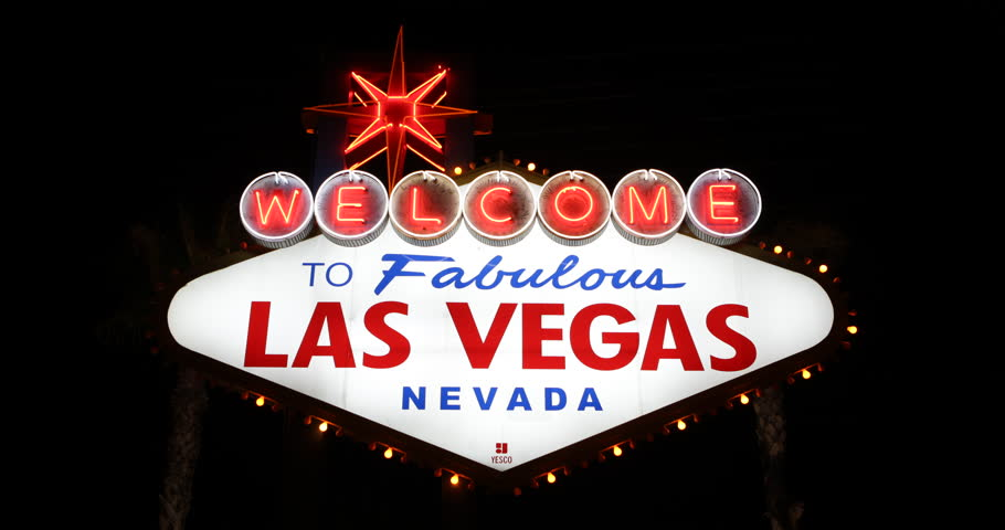 Establishing Shot Las Vegas City Welcome Neon Sign Landmark Night Evening Lights ( Ultra High Definition, UltraHD, Ultra HD, UHD, 4K, 2160P, 4096x2160 ) | Shutterstock HD Video #8284432