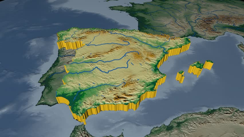 South africa extruded on the world map rivers and lakes shapes spain extruded on the world map rivers and lakes shapes added colored elevation and gumiabroncs Image collections