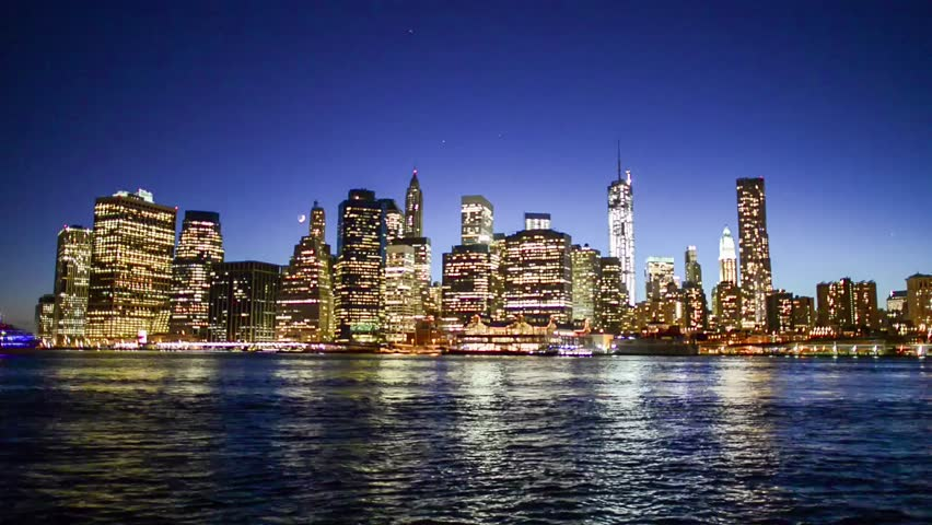 Royalty-free New York City Night Skyline Reflected In