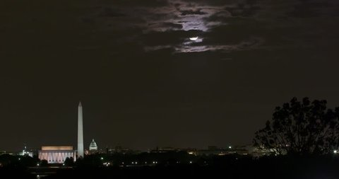 Washington DC wide time lapse at night Super Moon rise-higher in sky with plenty of room for graphics. Use the 4K with a digital zoom for HD.