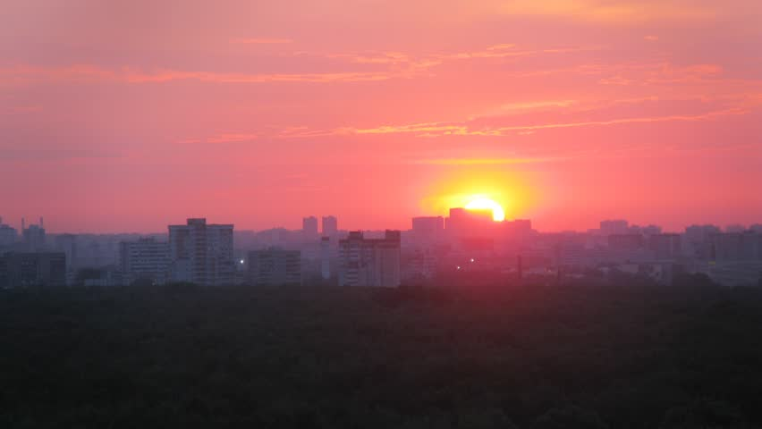Sun are moving over the district of Moscow during sunset. Time lapse. | Shutterstock HD Video #8315392