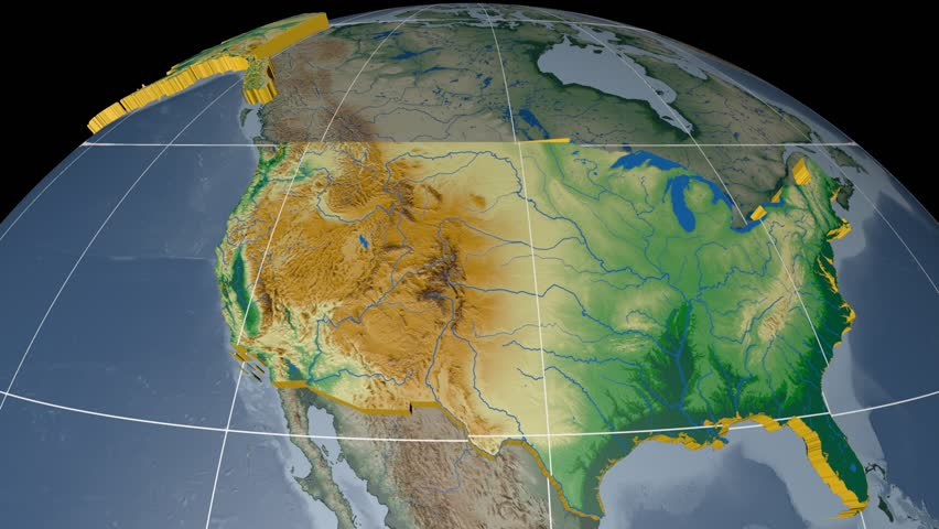 United States Of America Extruded On The World Map With Graticule Rivers And Lakes Shapes