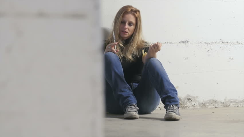 Young Addict Drug Blonde Girl Injecting Heroin Cocaine-3370