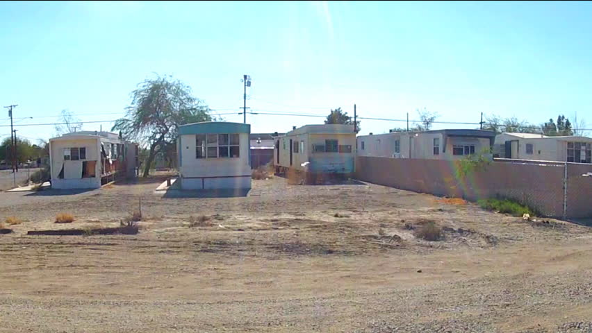 NILAND CA December 16 2014 Shot Of Driving By Mobile Homes In