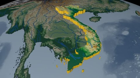 Vietnam extruded on the world map. Rivers and lakes shapes added. Colored elevation and bathymetry data used. Elements of this image furnished by NASA.