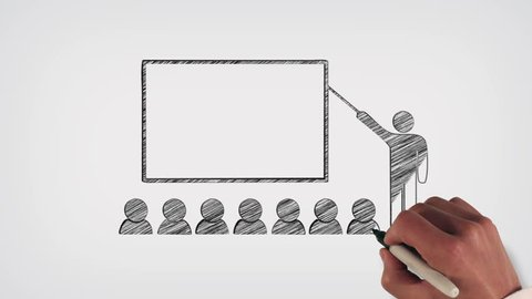 Business Presentation or Classroom Whiteboard Stop-Motion Style Animation