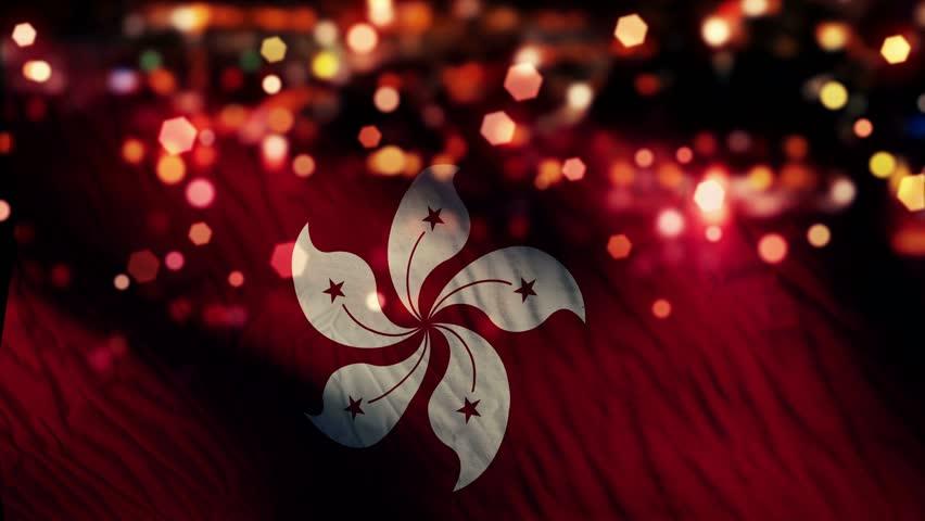 Hongkong Flag Light Night Bokeh Abstract Loop Animation - 4K Resolution UHD | Shutterstock HD Video #8379742