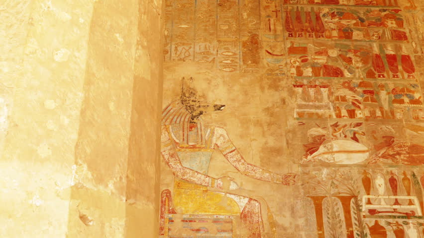 ancient egypt color images on wall in luxor - pan view