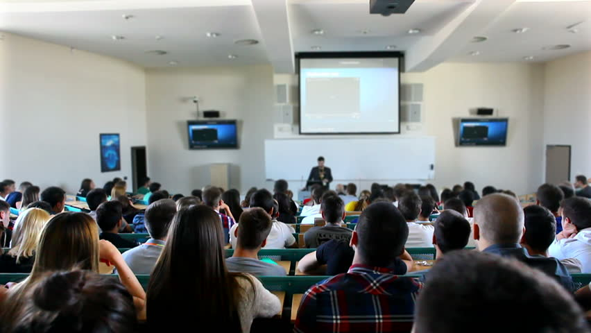MONTENEGRO - PODGORICA 2013 - Students listen a lecture at the university - slider shoot