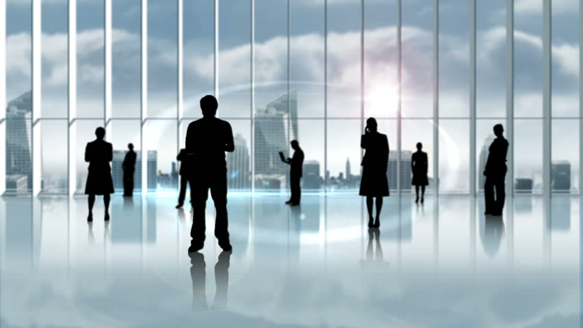 Digital animation of Silhouette of business people in office | Shutterstock HD Video #8416873