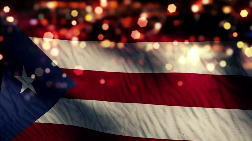 Puerto Rico Flag Light Night Bokeh Abstract Loop Animation 4K Resolution UHD Ultra HD