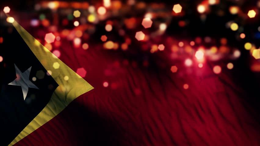 Timor Leste Flag Light Night Bokeh Abstract Loop Animation 4K Resolution UHD Ultra HD
