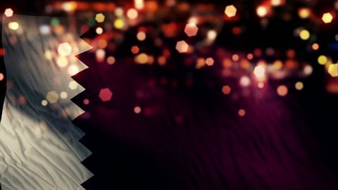Qatar Flag Light Night Bokeh Abstract Loop Animation 4K Resolution UHD Ultra HD