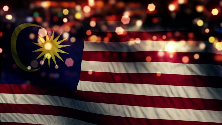 Malaysia Flag Light Night Bokeh Abstract Loop Animation 4K Resolution UHD Ultra HD
