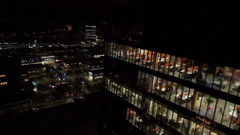 Aerial - Night shot of an office building